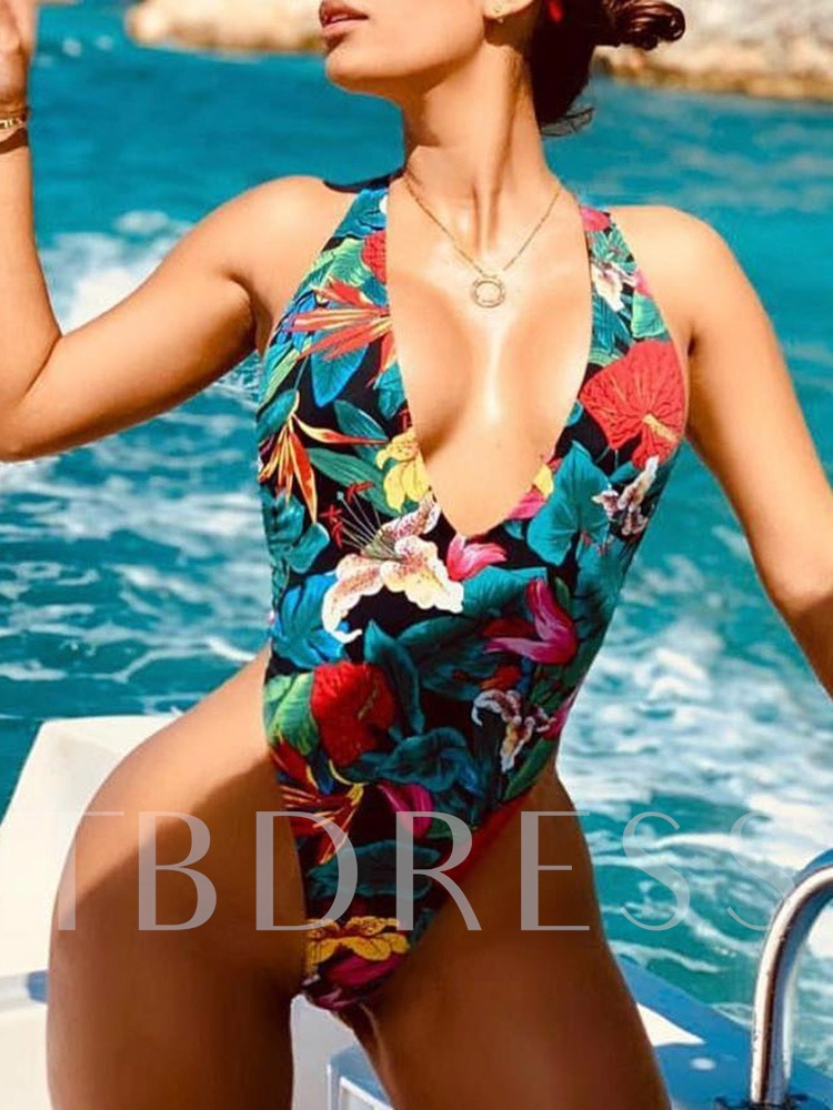 Floral One Piece Lace-Up Sexy Women's Swimwear