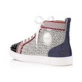 Customized Flat With Lace-Up High Top Rivet Round Toe Skate Shoes