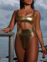 Golden One Piece Plain Sexy Women's Swimwear