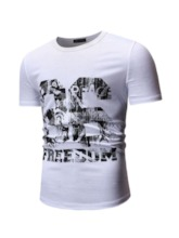 Letter Print Round Neck Casual Short Sleeve Men's T-shirt
