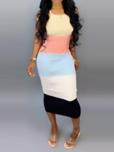Color Block Patchwork Sleeveless Women's Bodycon Dress