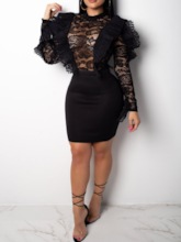 Round Neck Long Sleeve Hollow Lace Women's Bodycon Dress