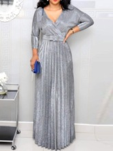 Pleated V-Neck Nine Points Sleeve Spring Women's Maxi Dress