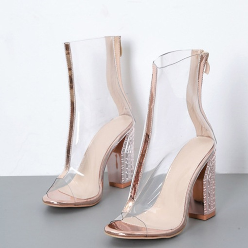 Open Toe Zipper Heel Covering Chunky Heel See Through Sandals