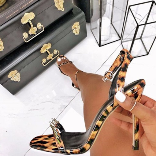 Leopard Print Ankle Strap Buckle Stiletto Heel Open Toe Sexy Sandals