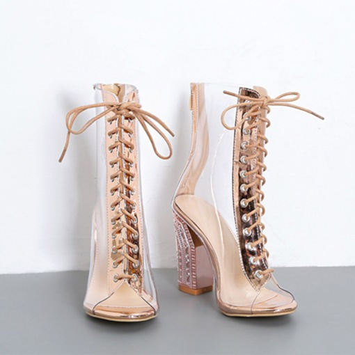 Heel Covering Chunky Heel Open Toe Lace-Up See-Through Sandals