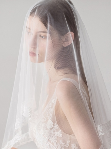 Fancy One-Layer Lace Edge Wedding Veil 2019