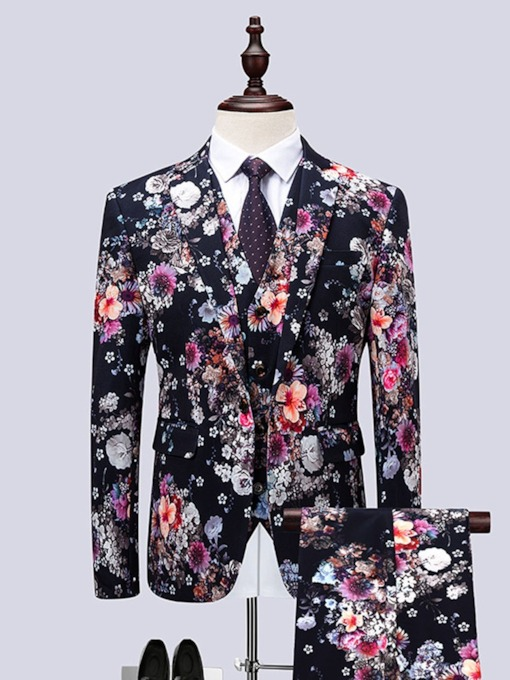 Floral Print Color Block Blazer Korean Print Men's Dress Suit
