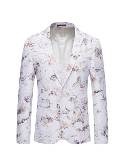 Slim Floral Pocket One Button Men's Blazer