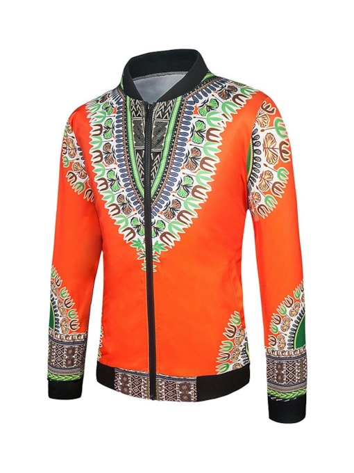 Stand Collar Print Geometric Zipper Men's Jacket