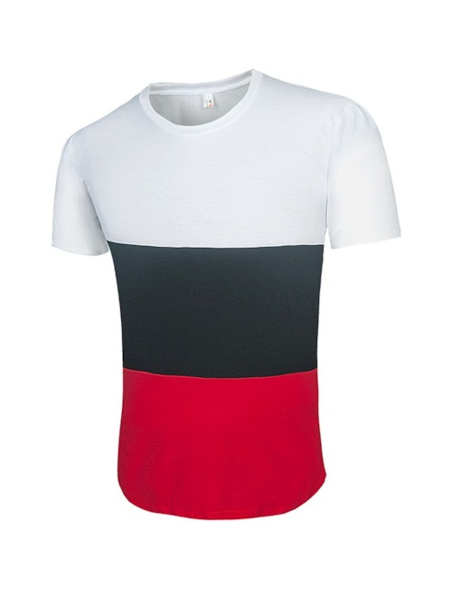 Casual Stripe Round Neck Short Sleeve Men's T-shirt