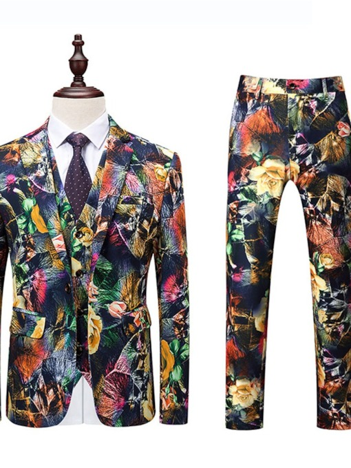 Color Block Print Blazer Korean Men's Dress Suit