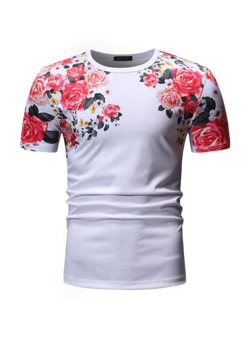 Floral Casual Print Round Neck Loose Men's T-shirt