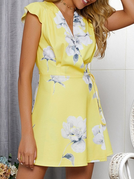Floral Print V-Neck A-Line Women's Day Dress