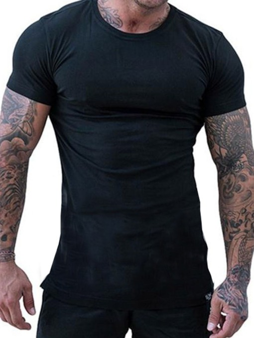Plain European Round Neck Slim Men's T-shirt