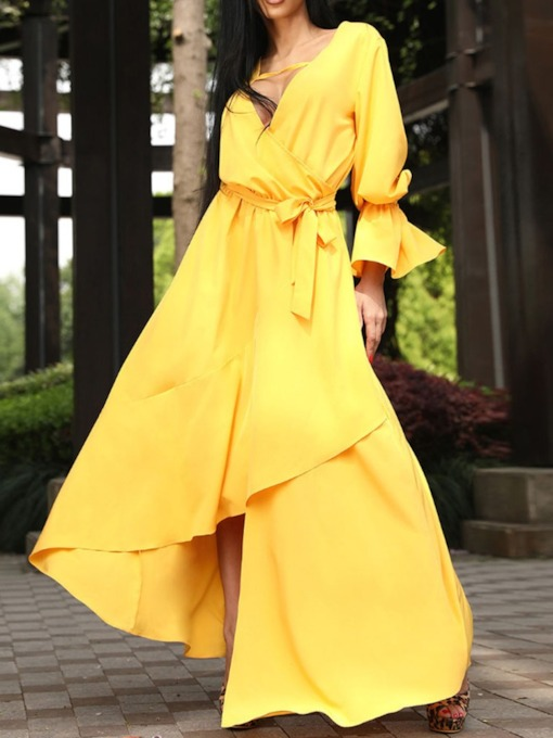 Long Sleeve V-Neck Pleated Asymmetric Women's Maxi Dress
