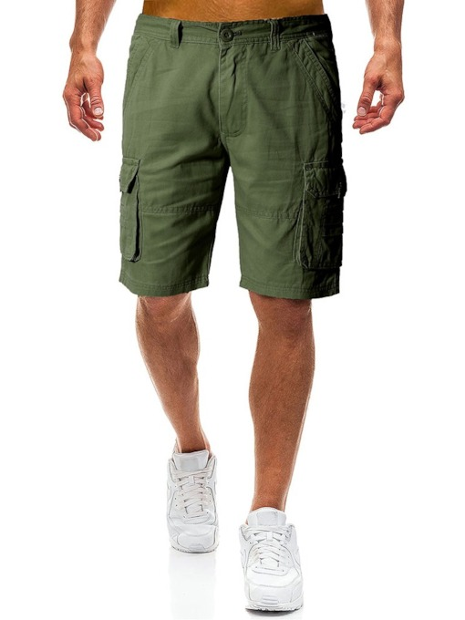 Loose Plain Pocket Casual Men's Shorts