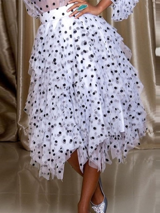 Pleated Polka Dots Asymmetrical Mid-Calf Fashion Women's Skirt