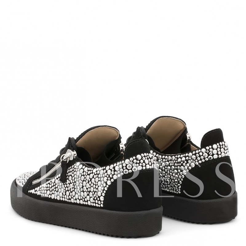 Customized Flat With Zipper Round Toe Men's Skate Shoes