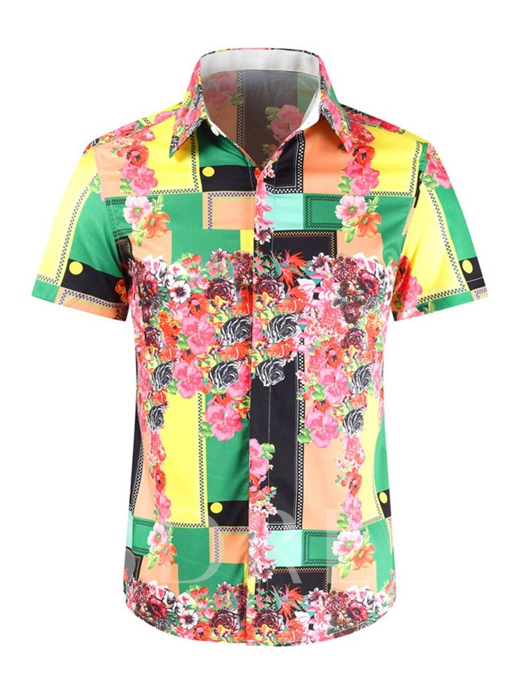 African Fashion Casual Slim Floral Print Lapel Men's Shirt