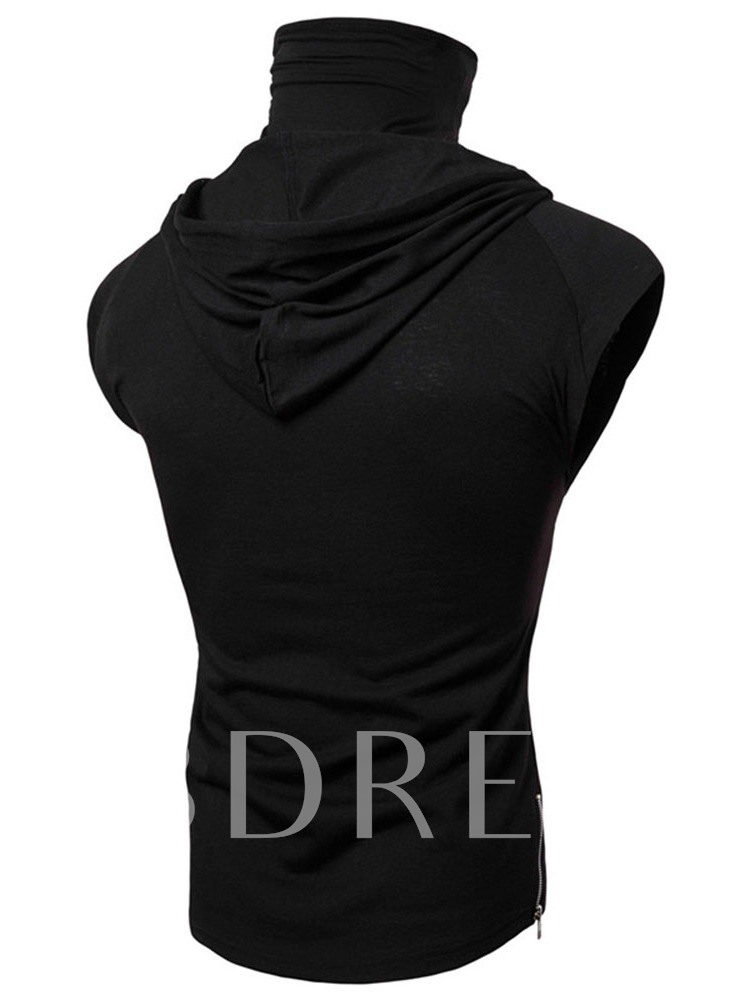 Hooded Casual Plain Wrapped Men's T-shirt