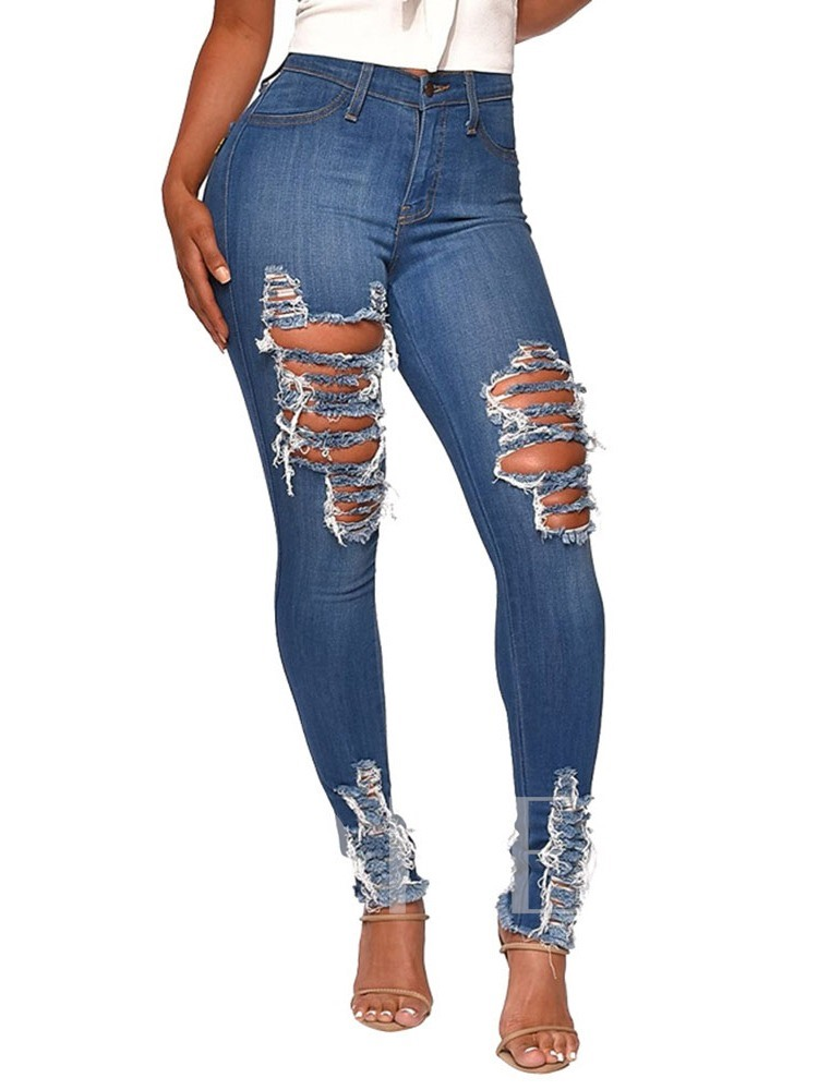 Hole Pencil Pants Plain Slim Women's Jeans