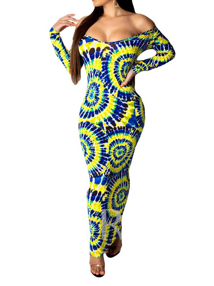 Off Shoulder Long Sleeve Print Geometric Women's Maxi Dress