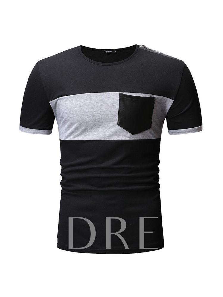 Round Neck Color Block Casual Pocket Loose Men's T-shirt