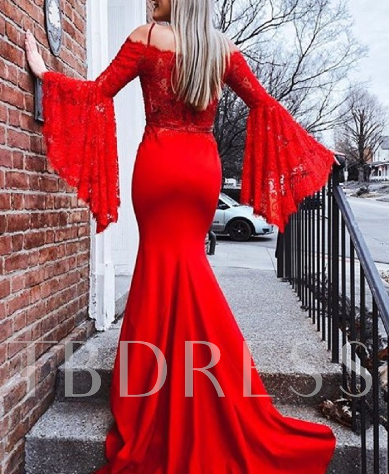 Beading Trumpet Spaghetti Straps Court Train Evening Dress 2019