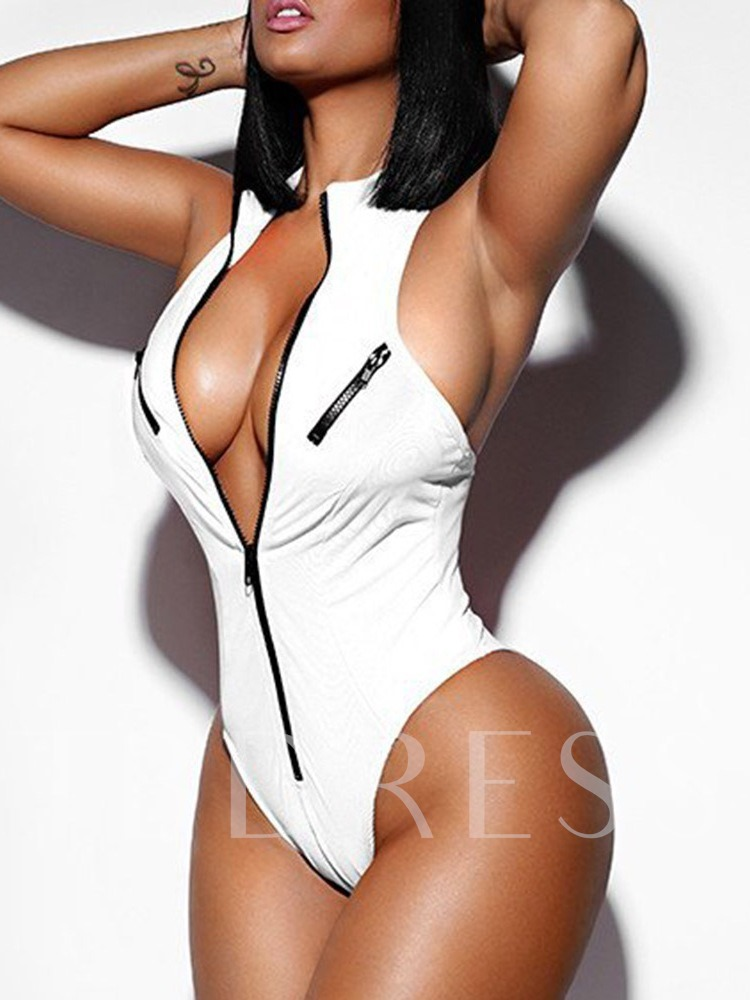 One Piece Sexy Zipper Plain Women's Swimwear