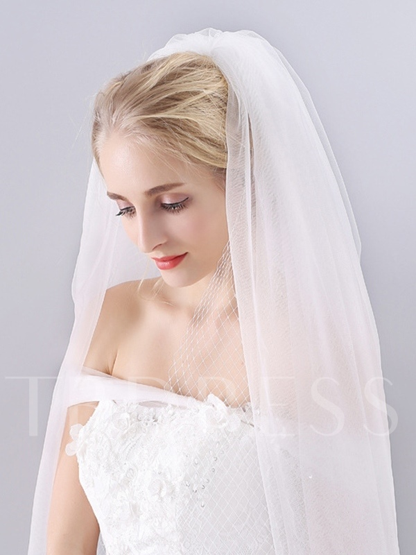 Hollow Cut Edge Two-Layer Wedding Veil 2019