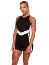 Color Block Short Women's Workout Jumpsuit