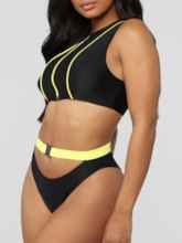 Zipper Tankini Set Sexy Color Block Women's Swimwear