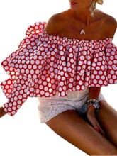 Off Shoulder Polka Dots Print Short Women's Blouse