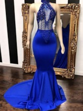 Trumpet Halter Sleeveless Floor-Length Evening Dress 2019