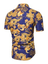 African Fashion Casual Button Lapel Floral Single-Breasted Men's Shirt