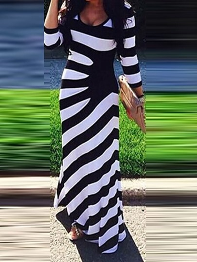 African Fashion Stripe Three-Quarter Sleeve Print Pullover Womens Maxi Dress African Fashion Stripe Three-Quarter Sleeve Print Pullover Women's Maxi Dress