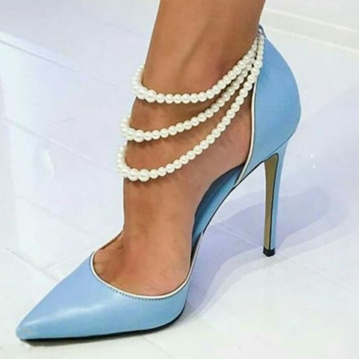 Stiletto Heel Elastic Band Beads Pointed Toe Prom Shoes