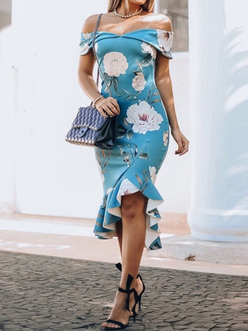 Print Short Sleeve Off Shoulder Floral Women's Maxi Dress