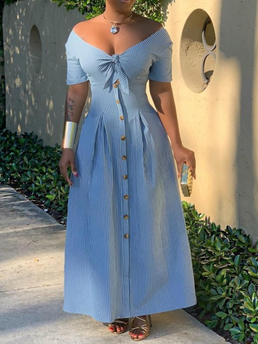 Short Sleeve V-Neck Button Stripe Women's Maxi Dress