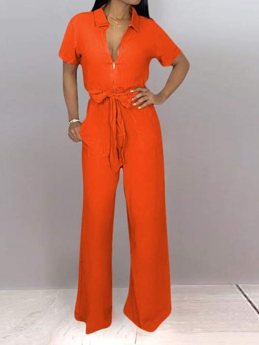 Full Length Lace-Up Fashion Plain Slim Women's Jumpsuit