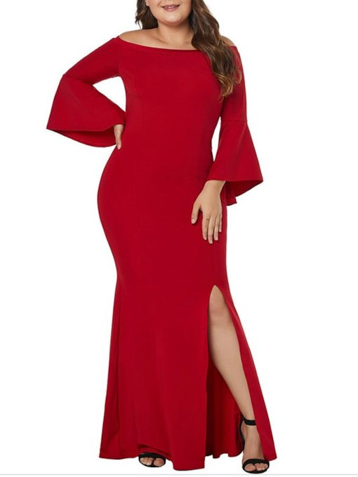 Floor-Length Trumpet Red Long Sleeves Evening Dress 2019
