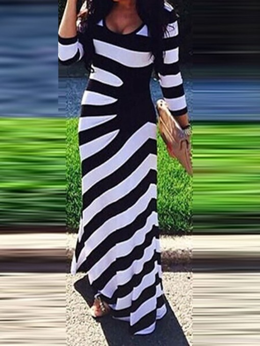 Stripe Three-Quarter Sleeve Print Pullover Women's Maxi Dress