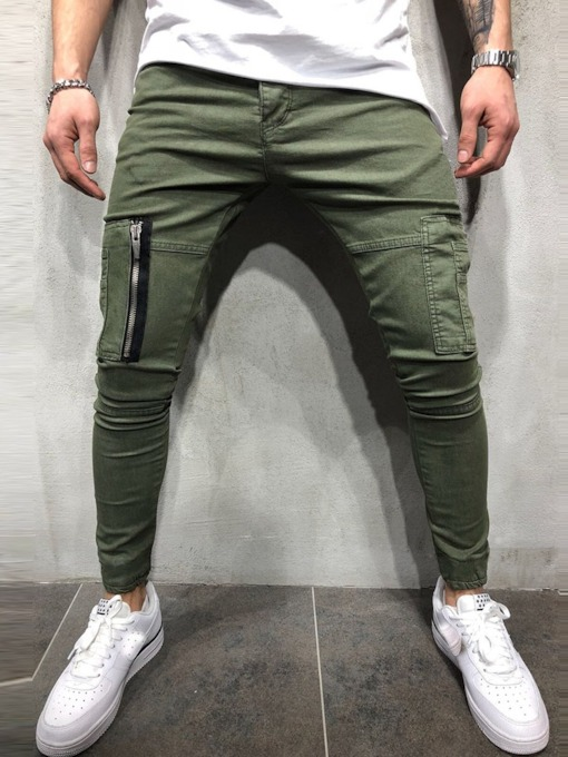 Zipper Plain Men's Casual Pants