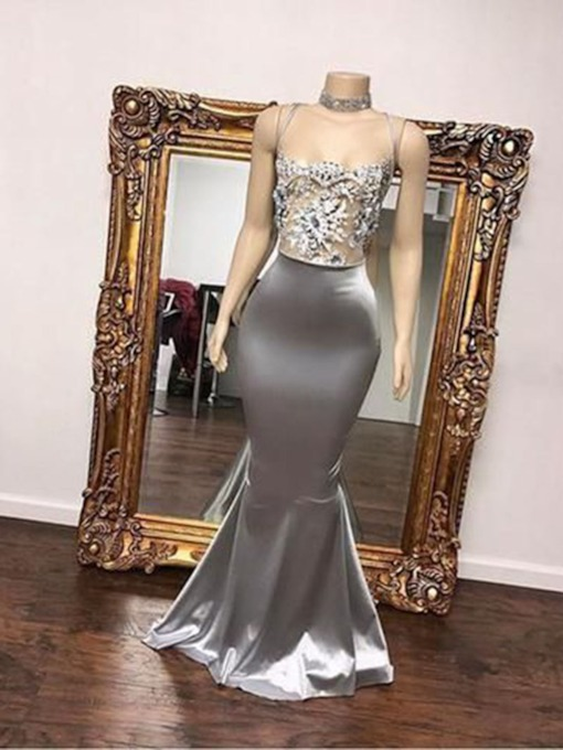 Square Floor-Length Sleeveless Appliques Evening Dress 2019