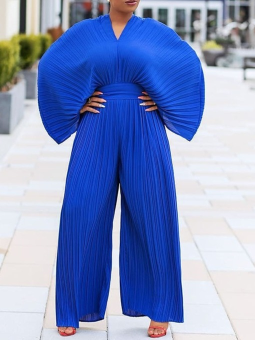 Full Length Western Plain Pleated Wide Legs Women's Jumpsuit
