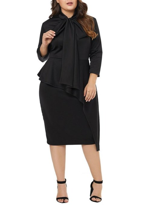 3/4 Length Sleeves Knee-Length Black Sheath Cocktail Dress