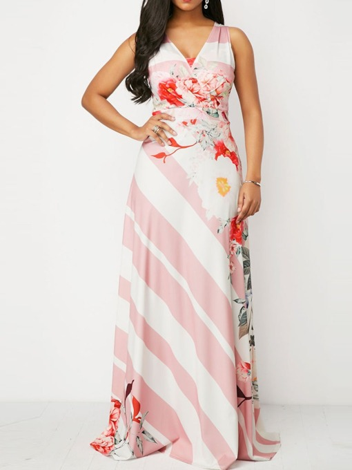 V-Neck Floral Print Sleeveless Pullover Women's Maxi Dress