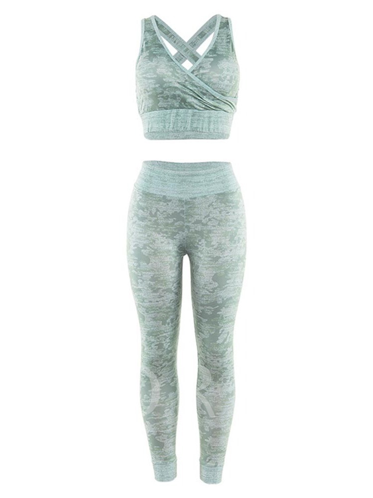 Print Pullover Sexy Low-cut Women's Workout Set 2 Pieces