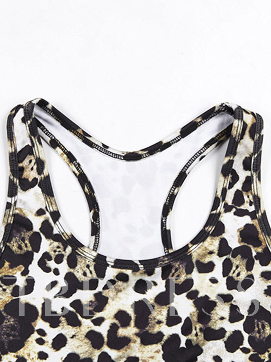 Leopard Print Full Length Sleeveless Women's Workout Set